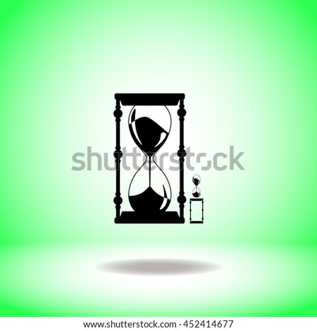 Clock glass vector. Flat icon on green background. Simple illustration.