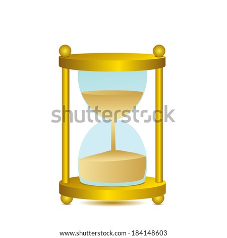 clock . Gold sand-glass on a white background.