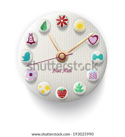 Clock Hand Made with colorful button. Vector illustration - stock vector