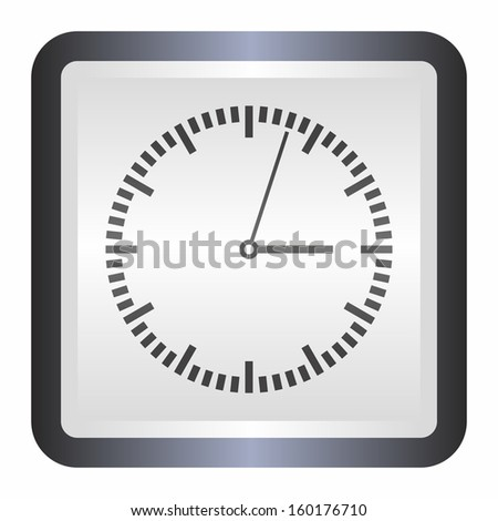 Clock icon (elegance silver button, black version) - stock vector
