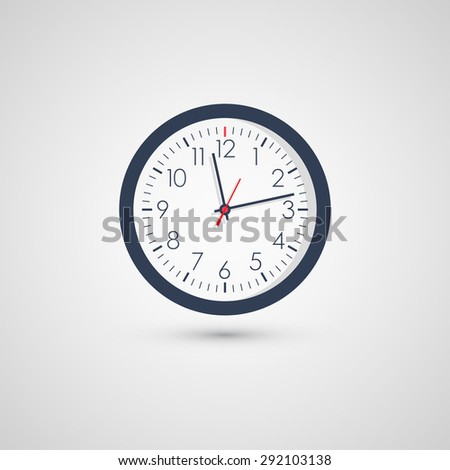 Clock icon flat style with shadow. Vector illustration - stock vector