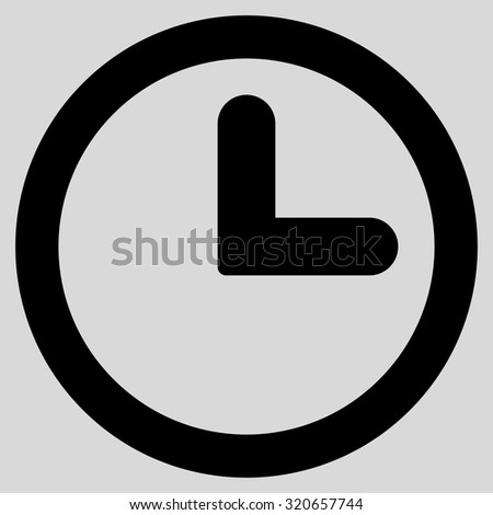 Clock icon from Primitive Set. This isolated flat symbol is drawn with black color on a light gray background, angles are rounded. - stock vector