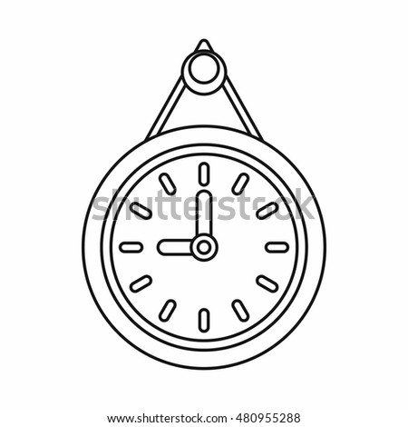 Clock icon in outline style on a white background vector illustration