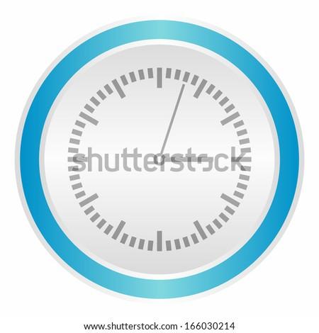 Clock icon (neon light metallic button, blue version) - stock vector