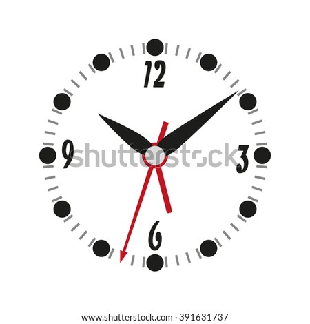 Clock icon on a white background, vector illustration
