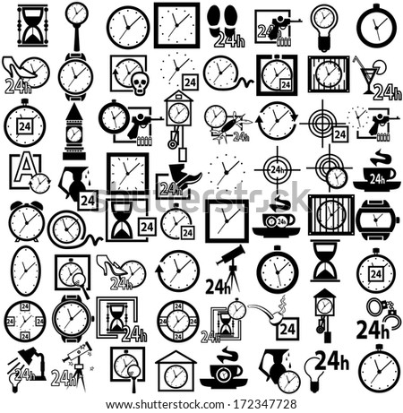 clock icon set - stock vector