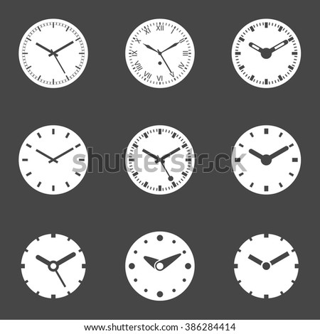 Clock Icon Set - Isolated Vector Illustration. White icons on dark background. Simplified Solid Design - stock vector