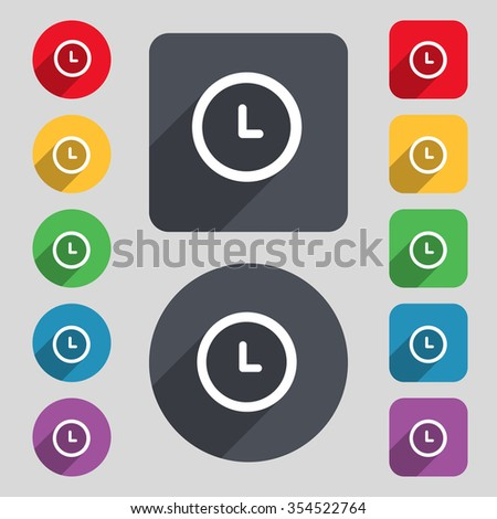 clock icon sign. A set of 12 colored buttons and a long shadow. Flat design. Vector illustration - stock vector