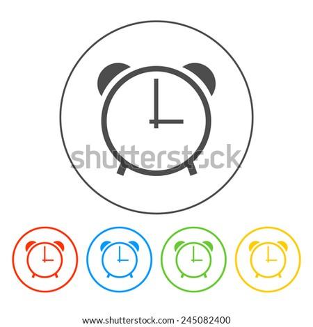 clock icon,  Vector flat Illustrator EPS 10 - stock vector