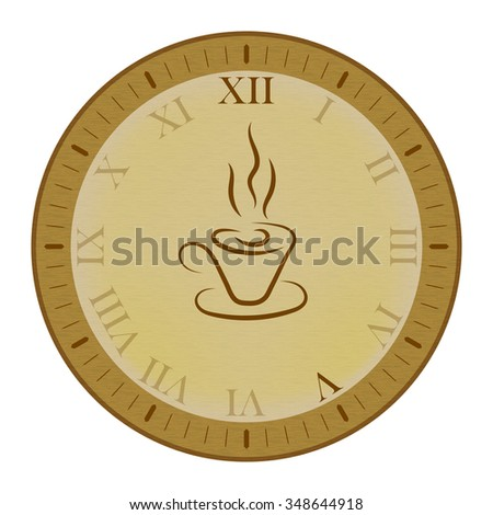 Clock icon with cup of tea. Five o'clock time. Vector illustration.