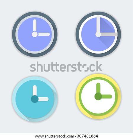 Clock icons. Material design - stock vector