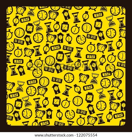 clock icons over yellow background. vector illustration - stock vector