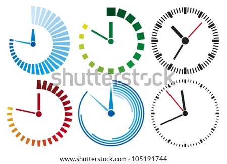 clock icons set - stock vector
