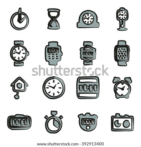 Clock Icons Set 2 Freehand 2 Color - stock vector