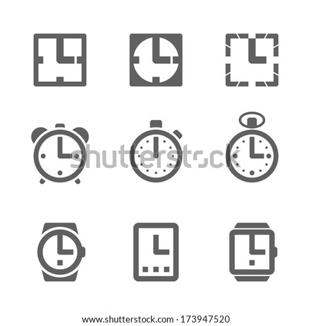 Clock icons. Vector. - stock vector