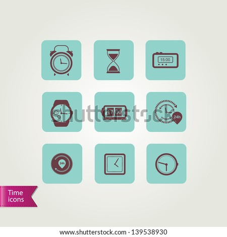 Clock icons.Vector illustration. - stock vector