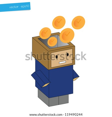 Clock in head box, concept business - stock vector