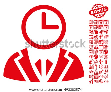 Clock Lord pictograph with bonus calendar and time management pictogram. Vector illustration style is flat iconic symbols, red color, white background.