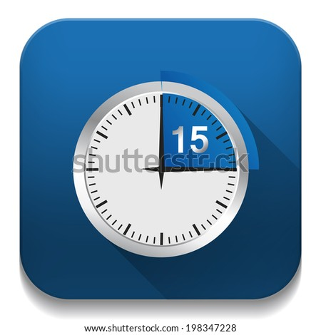 Clock 15 Minutes To Go With long shadow over app button - stock vector