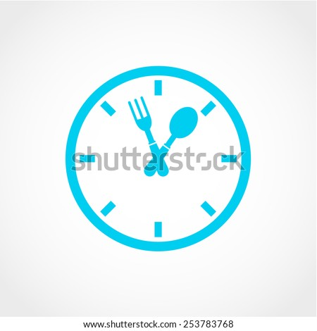 Clock of the plates and forks, spoons Icon Isolated on White Background - stock vector