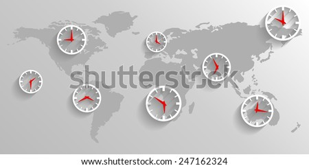 Clock on the map of the world, business concept poster background - stock vector