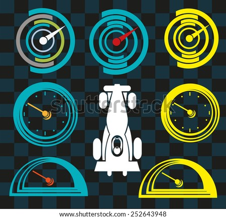 Clock or Car Gauge outline vectors with figure of a sportscar. Note: Race car does not infringe the copyright of existing car products. - stock vector