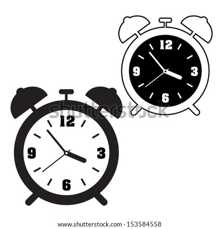 CLOCK OUTLINE AND SILHOUETTE VECTOR - stock vector