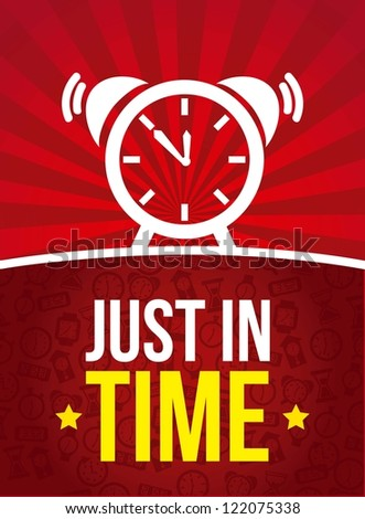 clock over red background, just in time. vector - stock vector