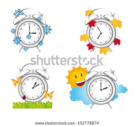 clock season winter, spring with autumn and summer. vector illustration