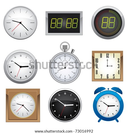 Clock set. Office, digital, timer, stopwatch, alarm. - stock vector
