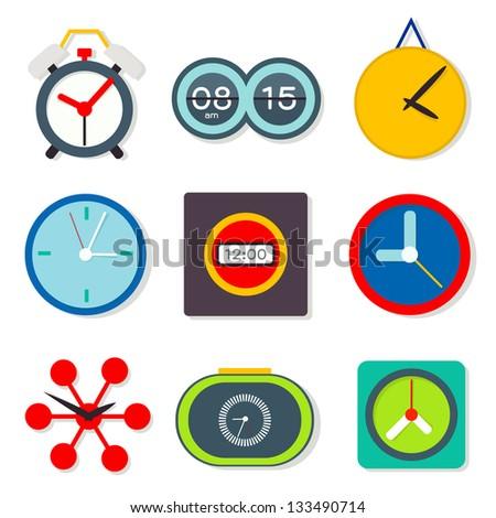 Clock set , vector - stock vector