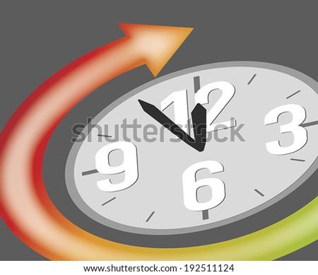 clock showing five minutes to twelve - stock vector