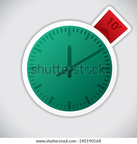 Clock sticker with 10 minute red label