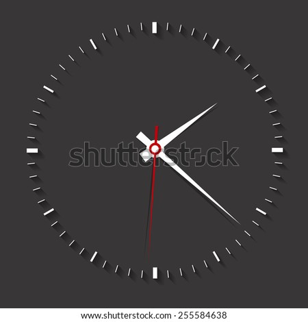Clock symbol on dark background,clean vector - stock vector