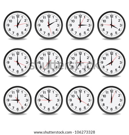 clock that show every hour vector illustration on white - stock vector