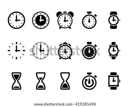 Clock, time vector icons. Hour and time clock symbol and timer with arrow, round clock illustration - stock vector