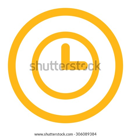 Clock vector icon. This rounded flat symbol is drawn with yellow color on a white background. - stock vector