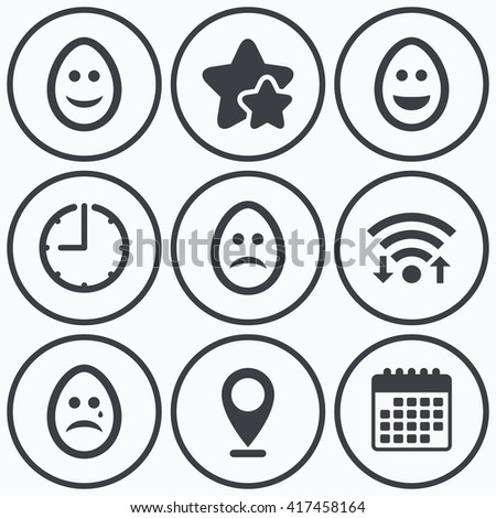 Clock, wifi and stars icons. Eggs happy and sad faces icons. Crying smiley with tear symbols. Tradition Easter Pasch signs. Calendar symbol.