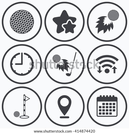 Clock, wifi and stars icons. Golf ball icons. Fireball with club sign. Luxury sport symbol. Calendar symbol. - stock vector