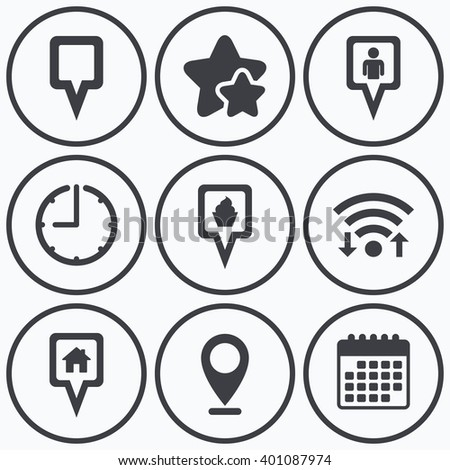 Clock, wifi and stars icons. Map square pointer icons. Home, food and user location symbols. Restaurant and cupcake signs. You are here. Calendar symbol. - stock vector