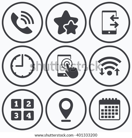 Clock Wifi Stars Icons Phone Icons Stock Vector Royalty Free