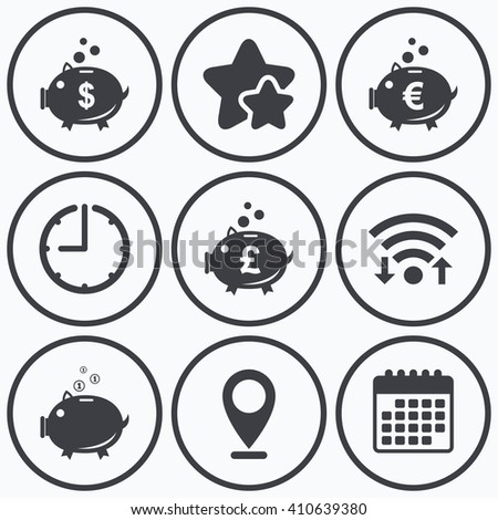 Clock, wifi and stars icons. Piggy bank icons. Dollar, Euro and Pound moneybox signs. Cash coin money symbols. Calendar symbol. - stock vector