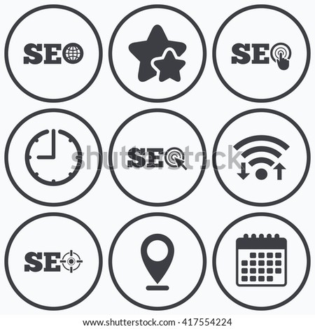 Clock, wifi and stars icons. SEO icons. Search Engine Optimization symbols. World globe and mouse or hand cursor pointer signs. Calendar symbol. - stock vector