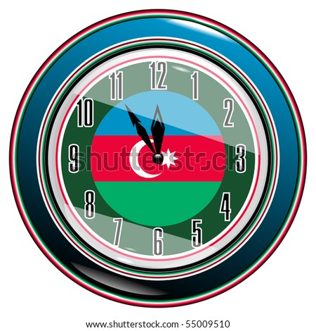 Clock with a flag of Azerbaijan vector eps10