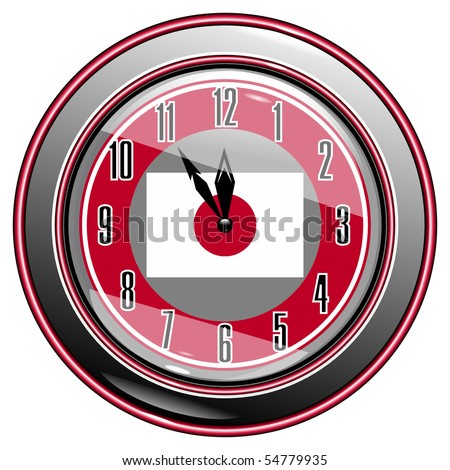Clock with a flag of Japan vector eps10 - stock vector