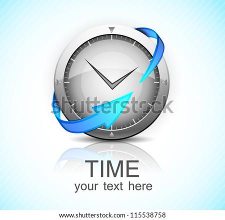 Clock with arrow - stock vector