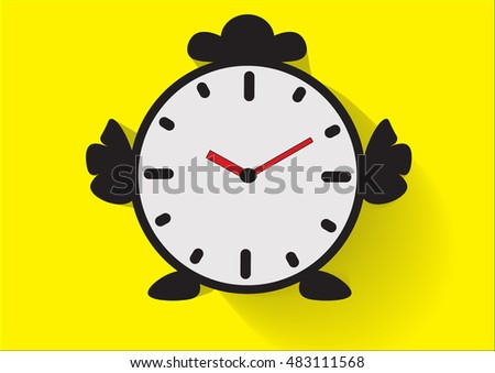 clock with chicken body on yellow background