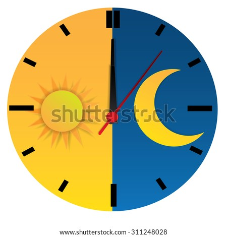 Clock with day night concept clock face vector illustration. Blue sky with clouds and sun. Moon and stars in the night - stock vector