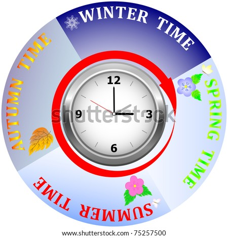 Clock with four seasons of the year. vector.