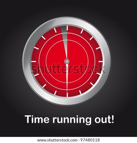 clock with time running out text over black background. vector - stock vector